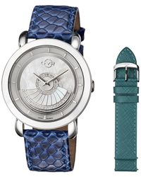 Gv2 - Catania Steel Case With White Mop Dial With Front Rotor With Emerald Green Leather Strap And Blu... - Lyst
