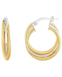 Jewelry Affairs - 14k Gold Yellow And White Finish Hoop Fancy Earrings, Diameter 15mm - Lyst