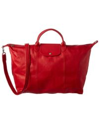 Longchamp - Le Pliage Cuir Large Leather Travel Bag, Red - Lyst