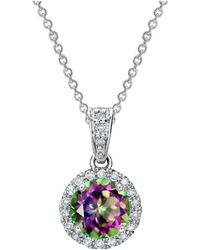 Tia Collections - 0.13ctw Diamond Halo Pendant With 6mm Mystic Topaz - Lyst
