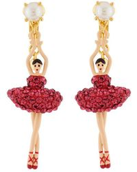 Les Nereides - Luxury Pas De Deux Toe-dancing Ballerina With Indian Pink Crystals Clip Earrings - Lyst
