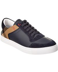 Burberry - Leather & House Check Low-top Trainer - Lyst