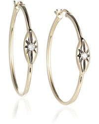 Jewelista - Diamond Hoop Earrings In 14k Yellow Gold (0.08cts,h-i I1) - Lyst