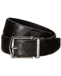 Burberry - Reversible Embossed Check Leather Belt - Lyst