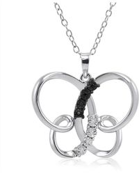 Amanda Rose Collection - Black And White Diamond Butterfly Pendant-necklace In Sterling Silver - Lyst