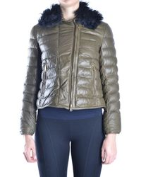 Peuterey - Women's Green Leather Down Jacket - Lyst