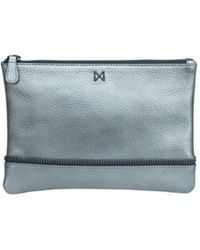 Mofe - Sage Pouch-style Clutch In Pebble Leather With Zipper Trim Details - Lyst
