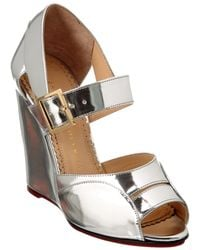 Charlotte Olympia - Marcella 100 Metallic Leather Wedge - Lyst