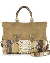 Ghibli | Golden Brown Python Tote W/detachable Shoulder Strap | Lyst