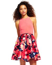 Adrianna Papell - Halter Fit And Flare Dress With Painted Floral Skirt - Lyst