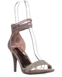Material Girl - Mg35 Mella Front Bejeweled Strap Ankle Strap Sandals, Blush - Lyst