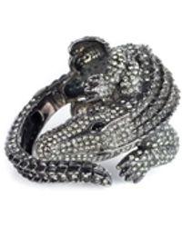 Roberto Cavalli | Womens Grey Alligator Pietre Dure Bracelet | Lyst
