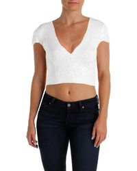 Dress the Population - Womens Lea Sequined V Neck Crop Top - Lyst