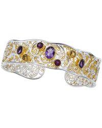 Jewelista - Silver & Gold Overlay Gemstone Cuff - Lyst