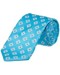 Ike Behar - Turquoise Summer Squares Silk Tie - Lyst