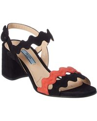 27f40ceb8543 Lyst - Prada Flower Embellished Suede Slingback Sandal in Brown
