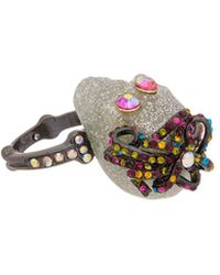 Betsey Johnson - Halloween Cz Glitter & Multi-stone Skull Ring - Lyst