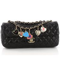 513e70ebdd885c Chanel - Pre Owned Valentine Hearts Flap Bag Quilted Lambskin East West -  Lyst