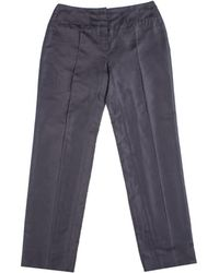 Prada - Women's Silk Trouser Pants Navy Blue - Lyst