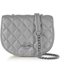 Love Moschino - Women's Silver Faux Leather Shoulder Bag - Lyst