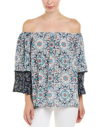 2d9bceca1caee Lyst - Tolani Printed Silk Blouse in Natural