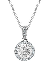 Tia Collections - 5mm White Sapphire & Diamond Halo Pendant - Lyst