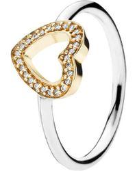 PANDORA - 14k & Silver Cz Heart Ring - Lyst