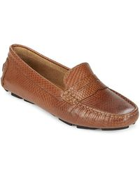 Saks Fifth Avenue - Honeycomb Embossed Leather Penny Drivers - Lyst