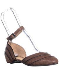 Adam Tucker - Becca4 Zipper Edges Ankle Strap Flats, Brown - Lyst