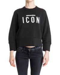 DSquared² - Women's Black Cotton Sweatshirt - Lyst