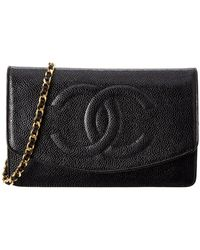 Chanel - Black Caviar Leather Wallet On Chain - Lyst