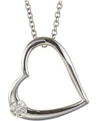 Charles & Colvard - Forever Classic Round 3.25mm Moissanite Heart Fashion Pendant Necklace - Lyst