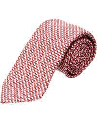Canali - Red & White Lines Silk Tie - Lyst