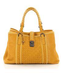 Bottega Veneta - Pre Owned Roma Handbag Leather With Intrecciato Detail Medium - Lyst