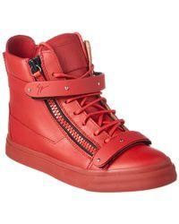 d4bfa2e729e Lyst - Giuseppe Zanotti Red Leather Fringed  london  High-top ...