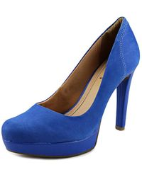 Sofia Z - Simone Women Open Toe Leather Blue Platform Heel - Lyst