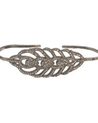 Adornia - Champagne Diamond And Sterling Silver Plume Palm Cuff - Lyst
