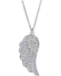 JewelryAffairs | Sterling Silver Angel Wing Pendant Cz Fashion Necklace, 18 | Lyst