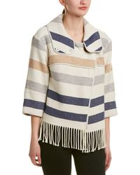 Karen Millen - Striped Wool-blend Poncho Cape - Lyst