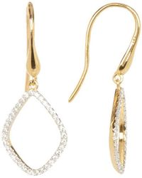 Adornia - Sterling Silver And Swarovski Crystal Open Dangling Earrings - Lyst