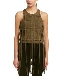 Haute Hippie - The Plaid Harness Suede-blend Top - Lyst