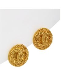 Chanel - Gold-tone Filigree Round Cc Earings - Lyst
