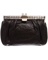 61215aedc82d MCM - Pre Owned- Black Swarovski Leather Small Clutch - Lyst