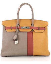 c25eb60f94db Hermès - Pre Owned Birkin Handbag Tricolor Clemence And Swift With Brushed  Palladium Hardware 35 -