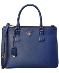 d64c4ecc54b4e3 Lyst - Prada Galleria City Calf Leather Double Handle Satchel in Blue