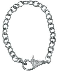 Adornia - Champagne Diamond And Sterling Silver Lock Bracelet - Lyst