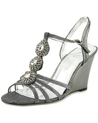 Adrianna Papell - Lacee Women Open Toe Canvas Silver Wedge Sandal - Lyst