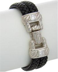 Judith Ripka - Silver & Leather Simulated Diamond Bracelet - Lyst