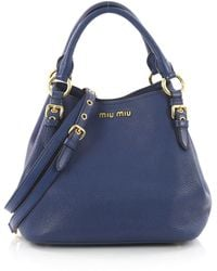 Miu Miu - Pre Owned Madras Convertible Tote Leather Medium - Lyst