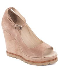 Brunello Cucinelli - Womens Open Toe Biege Ankle Strap Wedge Sandals - Lyst